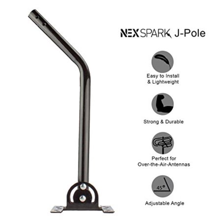 """NEXspark J-Pole Universal J-Mount 20"""" Mast 1"""" Diameter with Pivoting Foot for Outdoor Antennas [Mounting Hardware Included]"""