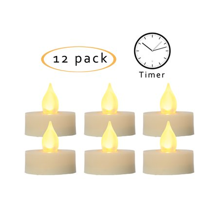 Flameless LED Battery Operated Tea Light Candles with Timer 1.5