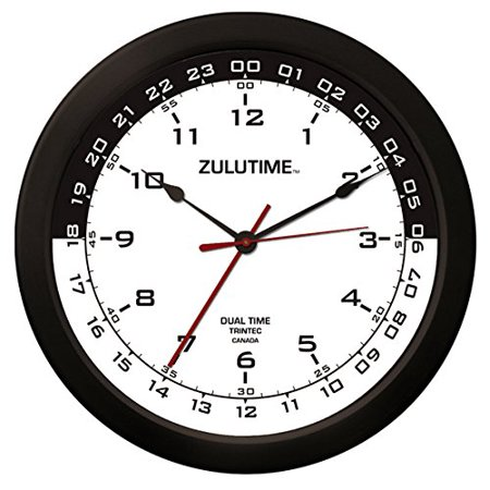 """Trintec 14"""" 12 & 24 Hour Military Time Swl Zulu Time 24hr White with Black Moon Wall Clock - Dial ZT14-03 - image 1 de 1"""