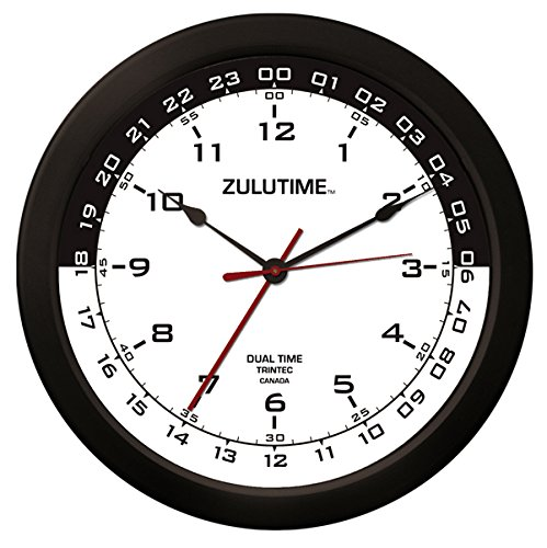 "Trintec 14"" 12 & 24 Hour Military Time Swl Zulu Time 24hr White with Black Moon Wall Clock - Dial ZT14-03"