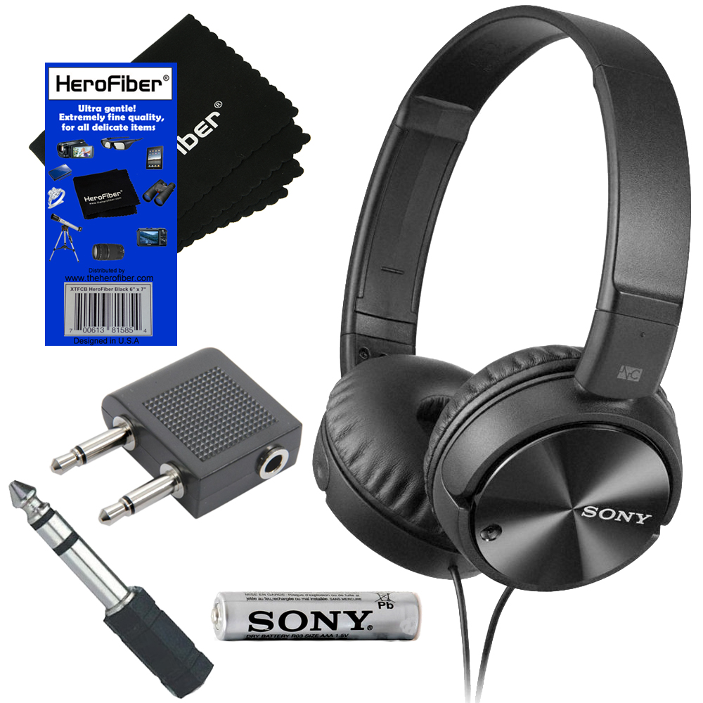 Sony MDR-ZX110NC Noise-Canceling Stereo Headphones + Airline Headphone Adapter + 3.5mm Mini Plug to 1/4 inch Headphone Adapter & HeroFiber Ultra Gentle Cleaning Cloth
