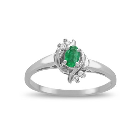 (Star K Small Oval 5x3mm Genuine Emerald Bypass Ring)