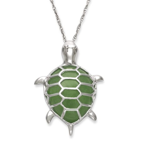 Jade Silver Necklace - Natural Jade Sterling Silver Turtle Charm Pendant Necklace, 18