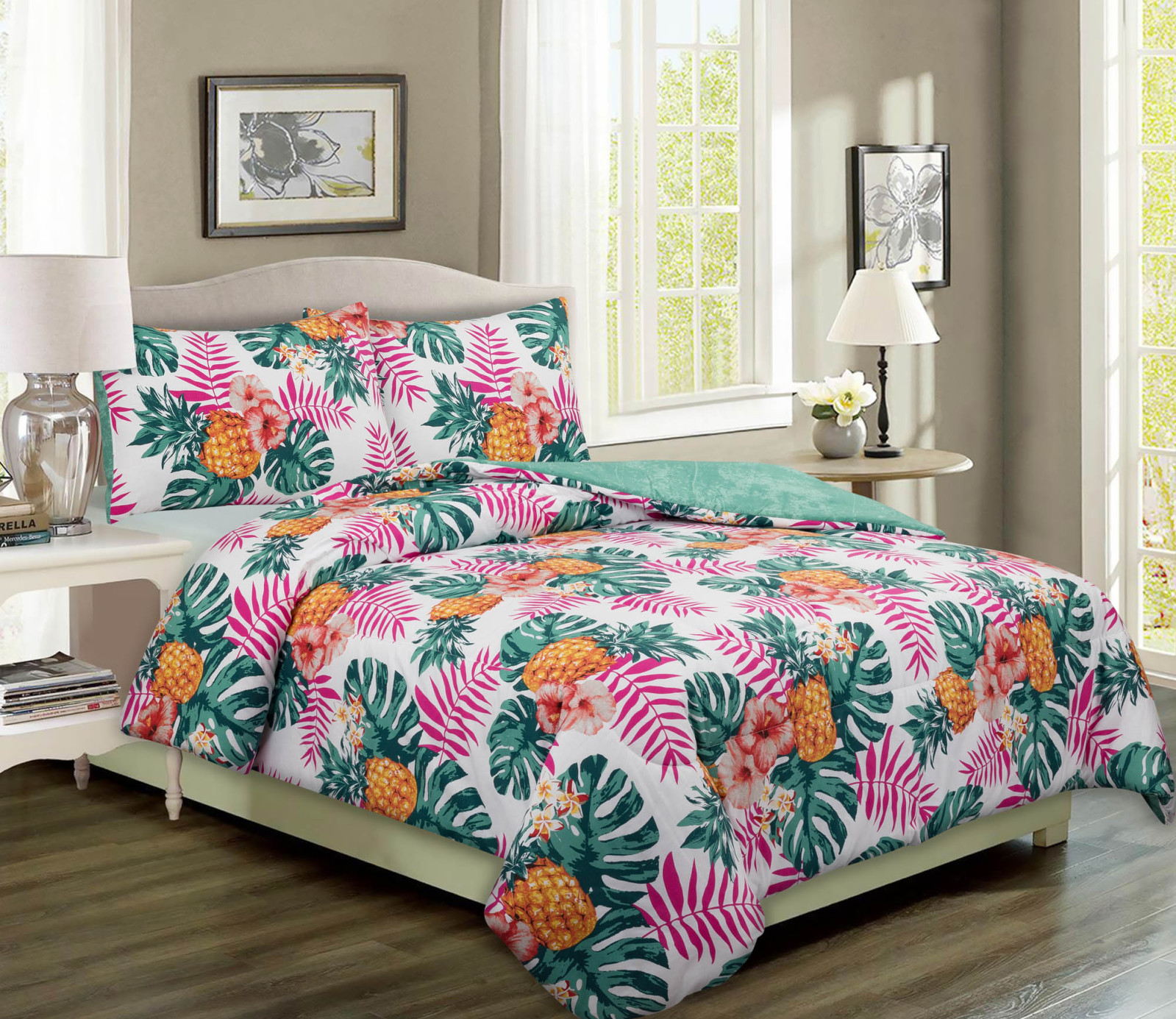 Mainstays Pineapple Palm Print Bed In A Bag Full Walmart Com
