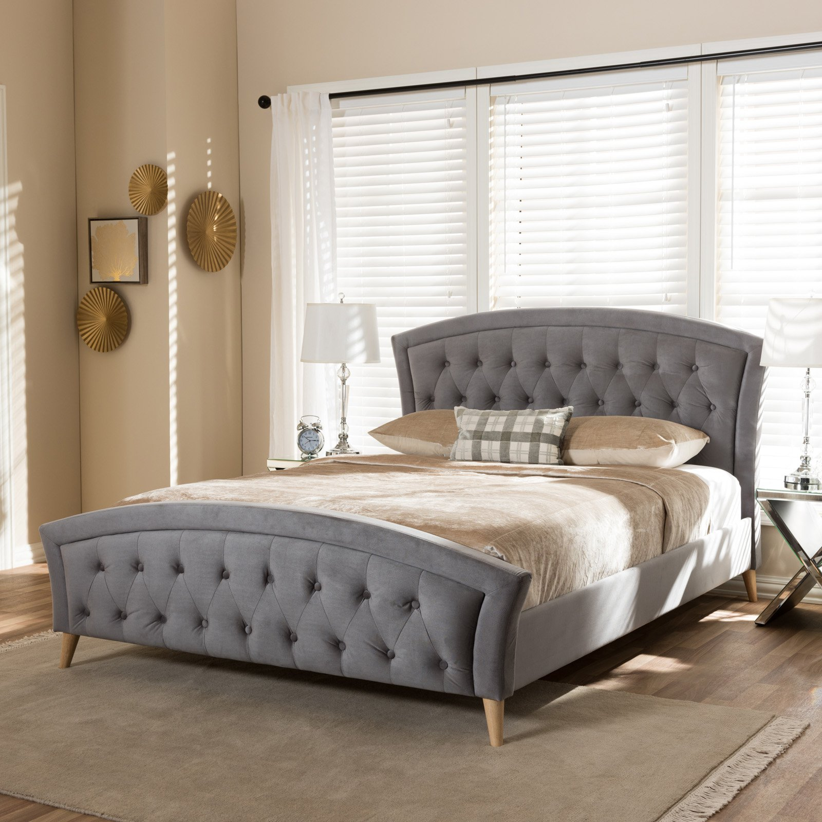 Baxton studio hannah modern and contemporary grey velvet fabric upholstered and natural finishing platform bed, multiple sizes