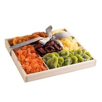 The Nuttery Premium Dried Fruit Classic Gift Basket-Dried Fruit Mix Gift Box-Healthy Snacking Gift Set-Wooden Tray Sectional Tray for Gift
