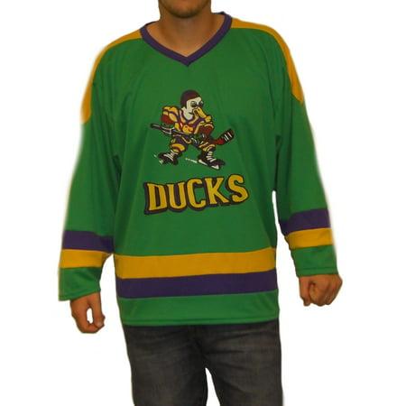Group Movie Costume Ideas (Mighty Ducks Logo Hockey Jersey Movie Player 90s Costume Uniform Sweater)