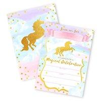 Magical Unicorn 12 LARGE Invitations - 12 Invitations + 12 Envelopes - DOUBLE SIDED