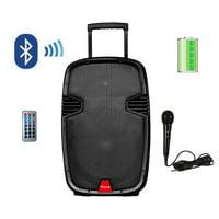 "Ridgeway QS-1255 Pro 12"" Party DJ Karaoke Portable BT Speaker with Built-in Battery Disco Lights MIC Remote USB SD BT FM AUX"