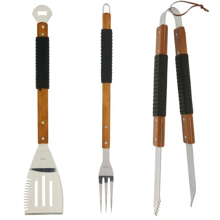Mr Bar B Q 3 Piece Bbq Tool Set With Finger Grips And Rosewood