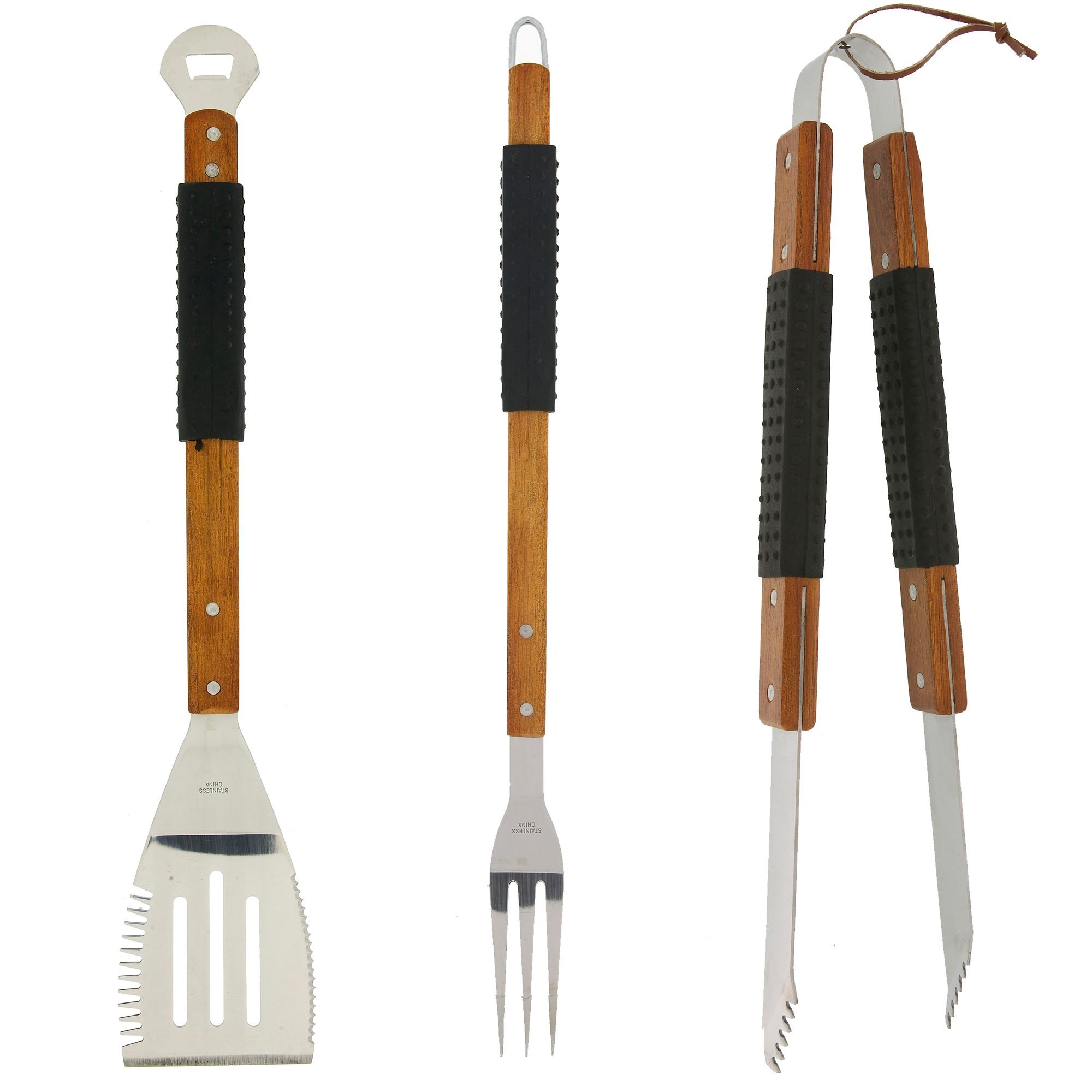 Mr. Bar-B-Q - 3 Piece BBQ Tool Set with Finger Grips and Rosewood Handles