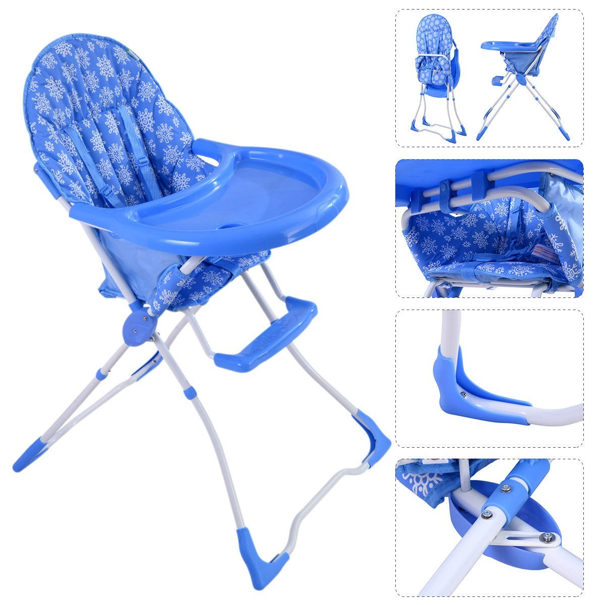 Baby High Chair Infant Toddler Feeding Booster Seat Folding Safe Portable - Blue