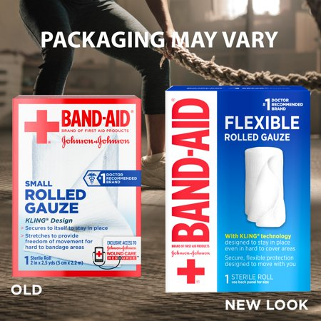 Band Aid Brand First Aid Product Flexible Rolled Gauze, 2 in x 2.5 yd