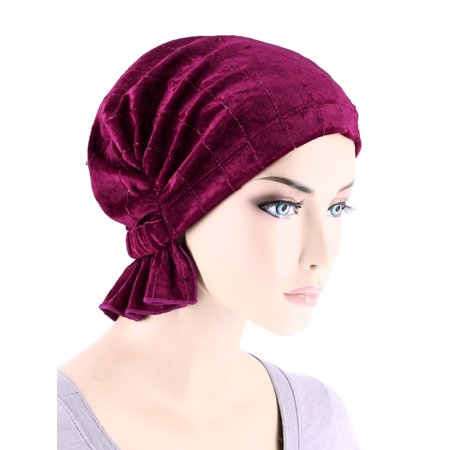 Turban Plus The Abbey Cap ® Womens Chemo Hat Beanie Scarf Turban for Cancer Stretch Velour Sequin Rasberry Wine - Velour Hats