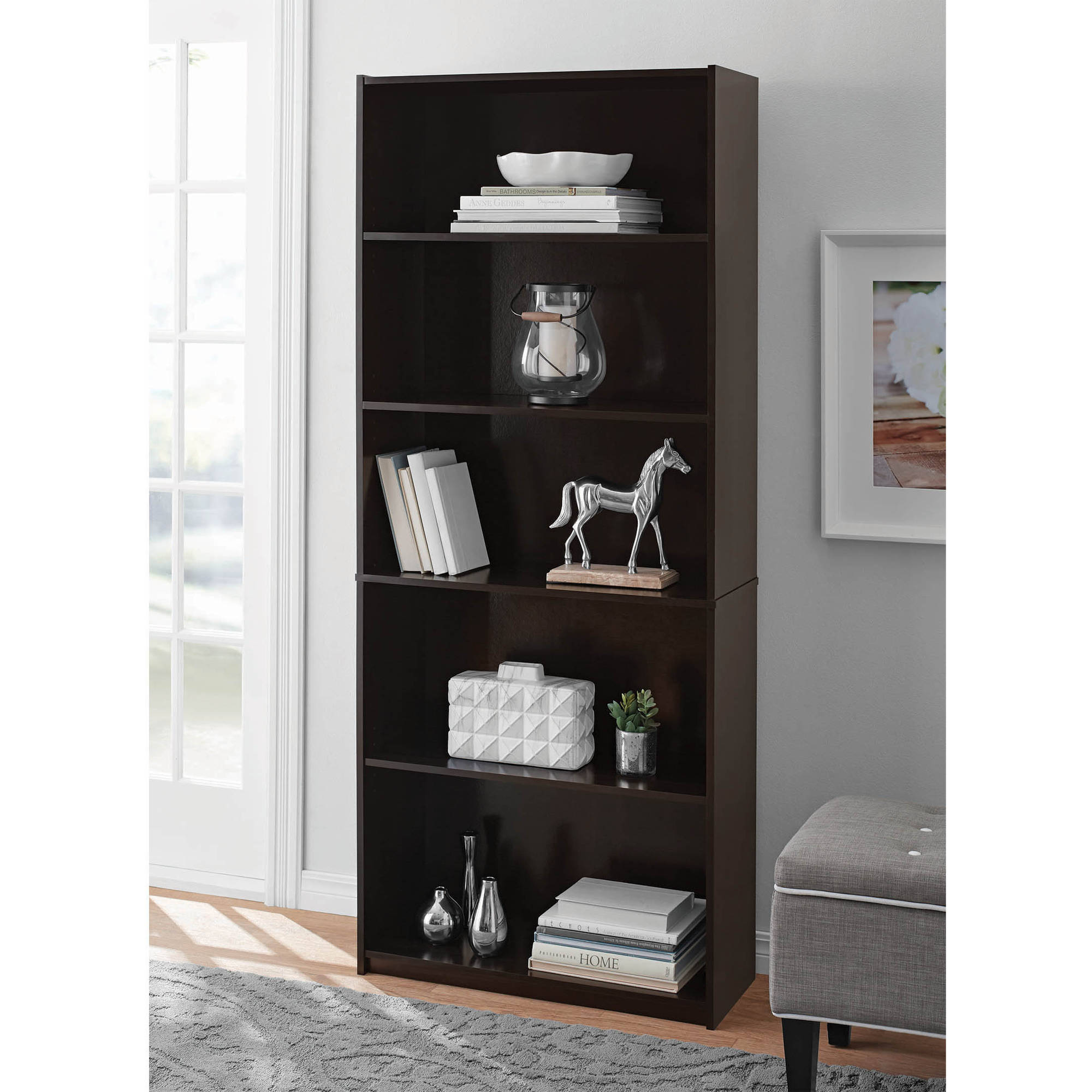 Mainstays 5-Shelf Standard Wood Bookcase, Expresso