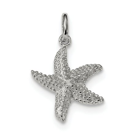Sterling Silver Polished and Textured Starfish Charm Pendant