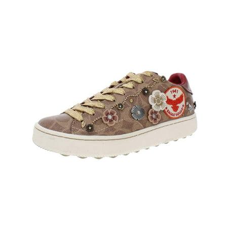 Coach Lady Shoes (Coach Womens C101 Leather Metallic Sneakers Tan 8 Medium (B,M))