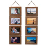 Wallniture DIY Unfinished Wood Wall Mounted Collage Picture Frames Walnut Set of 2
