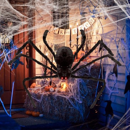 Easy Front Yard Halloween Decorations (SYWAN Halloween Hanging Decoration 4.1ft Giant Realistic Hairy SPIDER Outdoor Yard)
