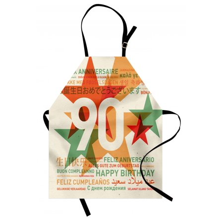 90th Birthday Apron Old Age Celebrations from the World Languages and Stars in Vintage Style, Unisex Kitchen Bib Apron with Adjustable Neck for Cooking Baking Gardening, Multicolor, by Ambesonne - Ideas For 90th Birthday Celebrations