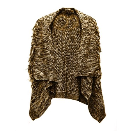 Love Classic Designs Knit Fringe Shawl Vest Wrap Black Brown Sz S M L A00160RM (Brown,S)