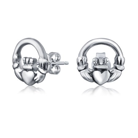 Tiny Bff Claddagh Celtic Irish Friendship Love Round Circle Stud Earrings For Women Teen Oxidized 925 Sterling Silver