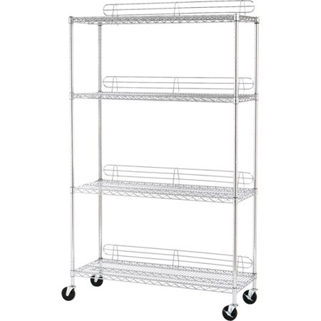 seville classics 4 shelf steel wire shelving system with. Black Bedroom Furniture Sets. Home Design Ideas