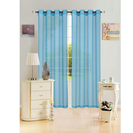 Sheer Voile Window Curtain Panel With Metal Grommets  Leah  55  X 84    1 Panel  Aqua