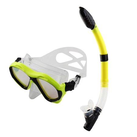 Dry Snorkeling Set Frameless Diving Mask Swimming Goggles Snorkel Tube Yellow