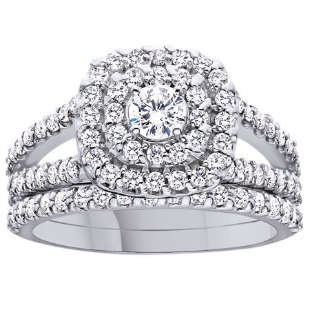 Round Cut White Natural Diamond Double Halo Engagement Wedding Ring In 10K Solid White Gold By Jewel Zone US