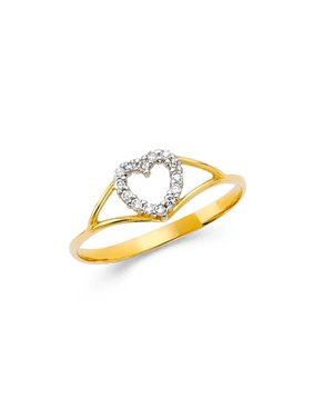 d8a869a37c365b Product Image Womens 14K Solid Yellow Gold Unique Heart Cubic Zirconia  Fancy Ring, Size 6.5. Paradise Jewelers