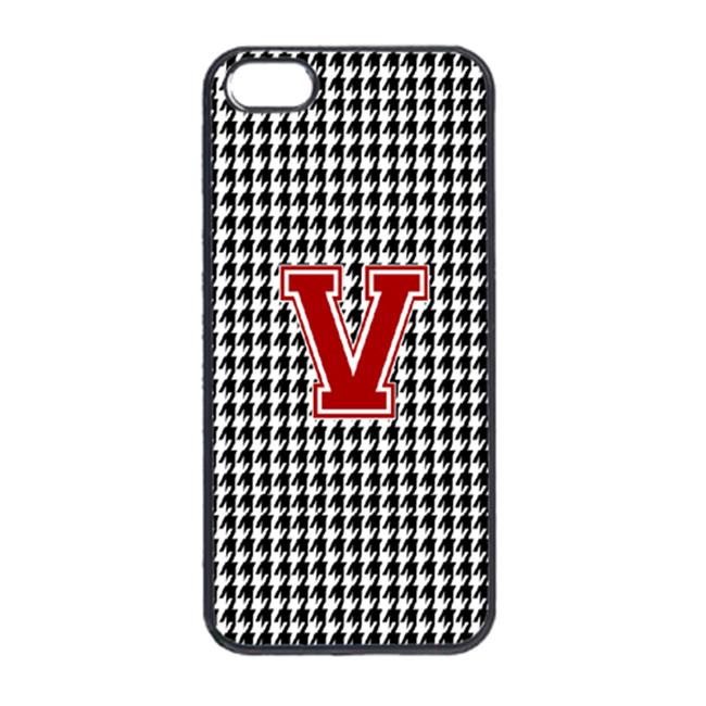 Houndstooth Black Letter V Monogram Initial Cell Phone Cover IPHONE 5