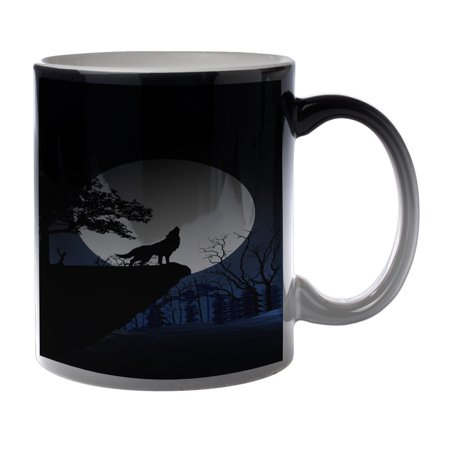 KuzmarK Black Heat Morph Color Changing Coffee Cup Mug 11 Ounce - Wolf Full Moon Mountain