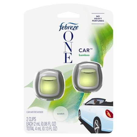Febreze One Car Air Freshener Vent Clips, Bamboo, 2 count