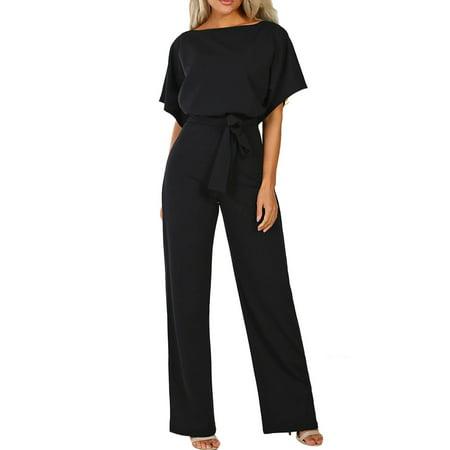 Women Short Sleeve Wide Leg Jumpsuit Elastic Tie Waist Playsuit Long Pants Rompers Casual Loose Trousers Party Jumpsuit