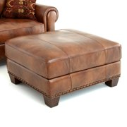 Steve Silver Silverado Leather Ottoman - Caramel Brown
