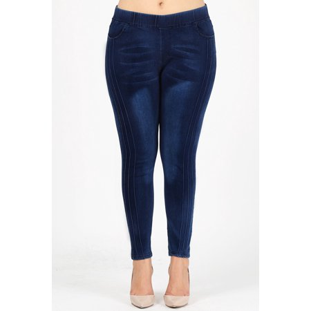 Heavyweight Leggings (Love Sweet jeans waist-huggings plus size Blue Pin-Tucked Jeggings)