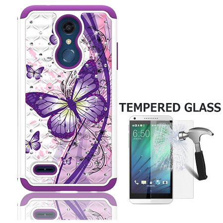 LG Phoenix Plus (AT&T), LG K30(T-Mobile), LG Harmony 2 (Cricket), Dual Layer Crystal Cover Case for LG Premier Pro 4G LTE Prepaid Smartphone + Tempered Glass Screen Protector (White-purple butterfly) (Lg Volt 4g Lte Case)