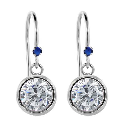 1.52 Ct Round I/J Diamond Blue Created Sapphire 925 Sterling Silver Earrings