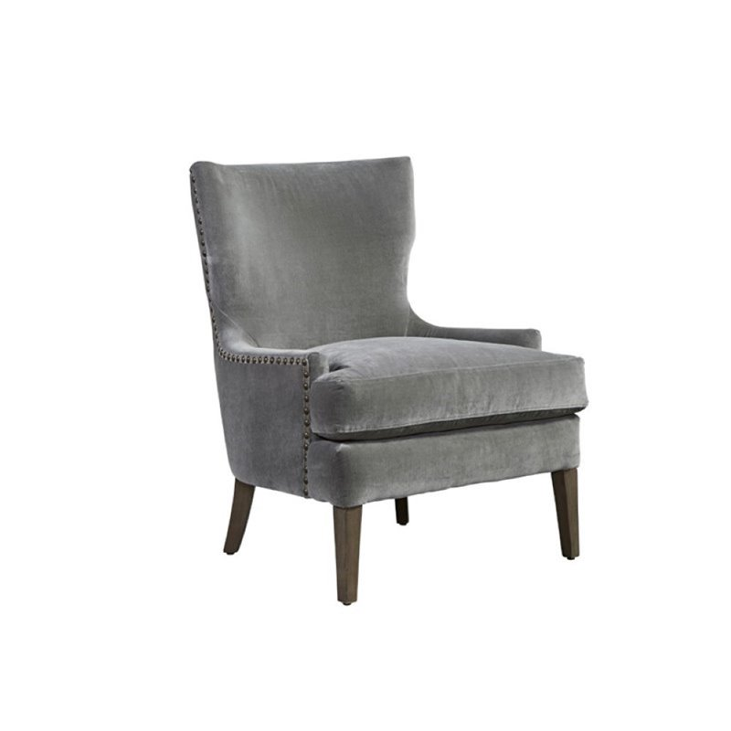 Beaumont Lane Velvet Chair in Gray