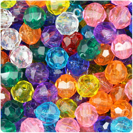 BeadTin Transparent Multi 10mm Faceted Round Craft Beads (210pcs)