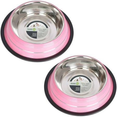 2-Pack Color Splash Stripe Non-Skid Pet Bowl, For Dog or Cat, Pink, 16 Oz, 2 Cup ()