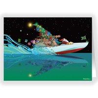 Santa's Speedboat Christmas Card - Boating 18 Cards & Envelopes