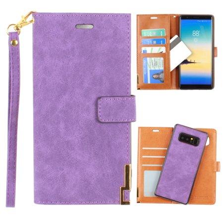 Metal Wristlet (CellularOutfitter Samsung Galaxy Note 8 Ultrasuede Wallet Case - Metal Trimmed Design w/ Detachable Slim Case and Wristlet - Purple )