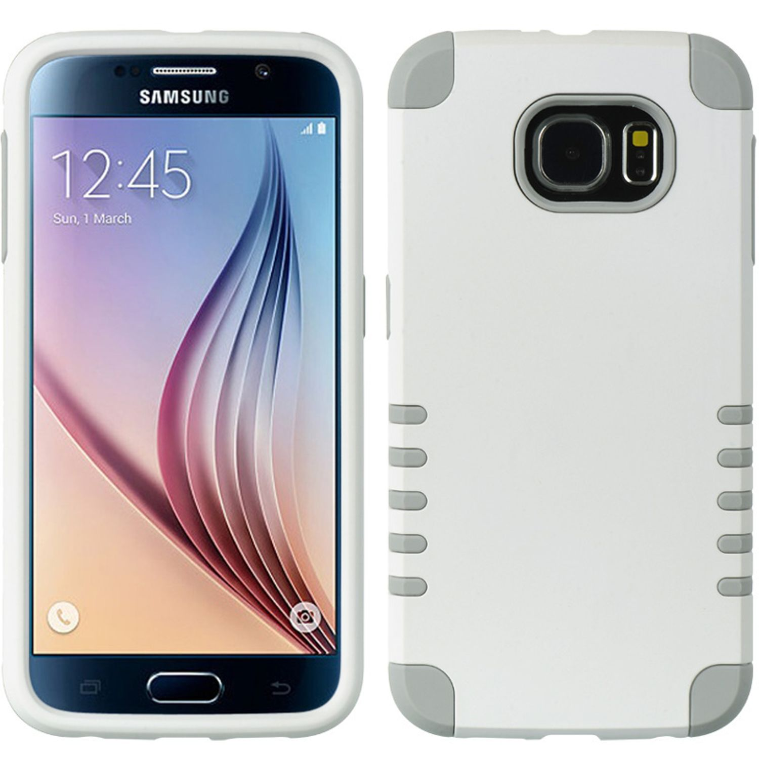 Samsung Galaxy S6 Case, by Insten Dual Layer [Shock Absorbing] Hybrid Rubber Coated Hard Plastic/Soft Silicone Case Cover For Samsung Galaxy S6 SM-G920, White/Gray