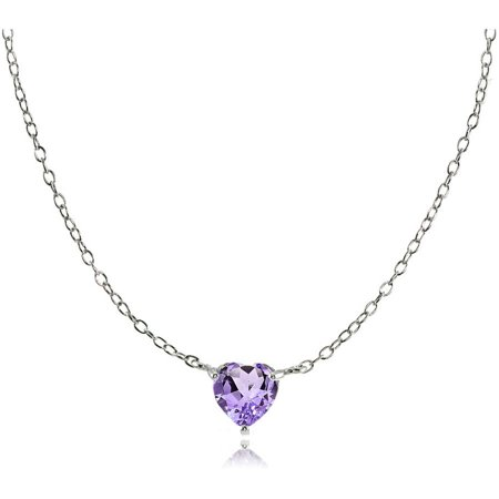 Round Amethyst Sterling Silver Small Dainty Choker Necklace