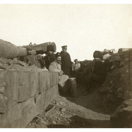 Russo Japanese War C1905 Na Russian Hillside Battery With A Six Inch Naval Gun With Soldiers Standing And The Commander Seated Next To It Port Arthur China Stereograph C1905 Rolled Canvas Art     18 X