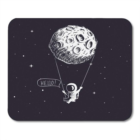 LADDKE Space Cute Astronaut Riding Swing Tethered to The Moon Character Childish Universe Mousepad Mouse Pad Mouse Mat 9x10 inch](Space Character)