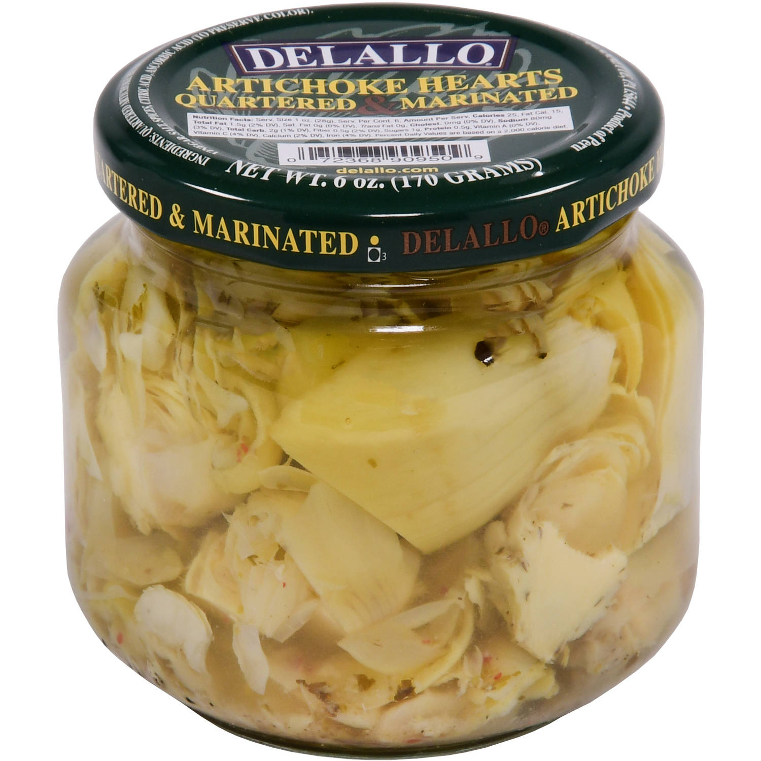 Delallo Quartered & Marinated Artichoke Hearts, 6 oz by George Delallo Co