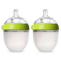 Comotomo Baby Bottle - 5oz, Green, 2 Pack